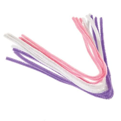 Pfeifenputzer ø 8 mm / 50 cm 9 Stk. weiß, rosa, flieder
