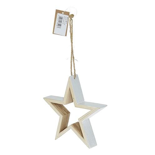 Stern Hänger Holz ø 14 cm weiß