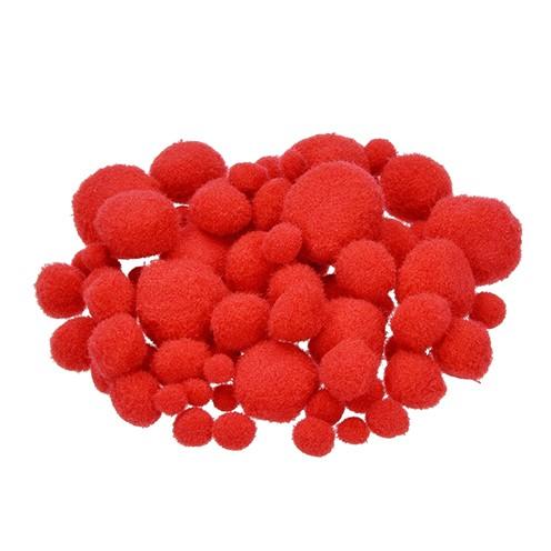 Pompons für Dekorationen 7, 10, 15, 20, 25 mm 75 Stk. rot