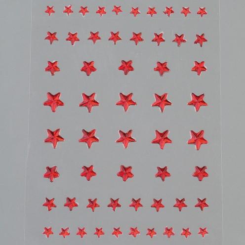 Strass Acryl selbstklebend Stern 4 5 6 8 mm 56 Stk. rot