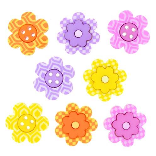 Knopf Bright Blossoms Ø ~19mm 8 Stk. bunt