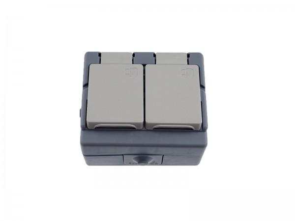 Feuchtraumsteckdose 2-fach, Aufputz, Schutzklasse IP44