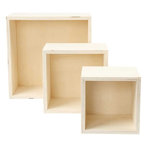 Set Boxen Holz quadratisch 11x11x10, 14x14x10,20x20x10 cm 3 - teilig roh