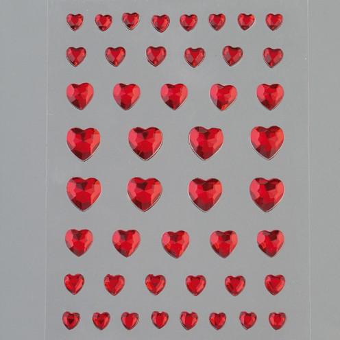 Strass Acryl selbstklebend Herz 4 6 8 10 mm 46 Stk. rot