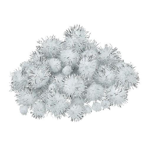 Pompons für Dekorationen 10, 15, 20, 25 mm 40 Stk. weiß silber metallic
