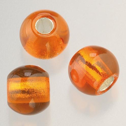 Glasperle Großloch 12 mm / 4 mm 5 Stk. orange silber
