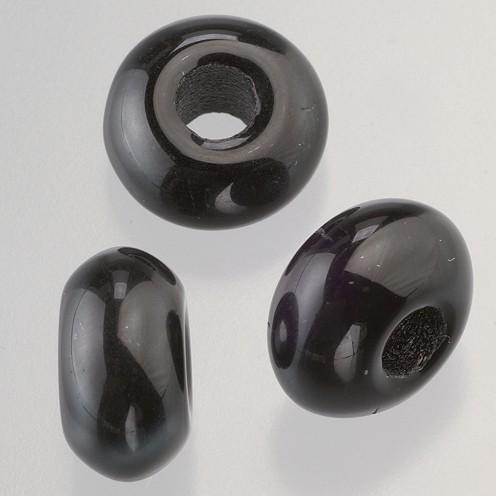 Glasperle Ring Großloch 11 x 17 mm / 6 mm 3 Stk. schwarz opak