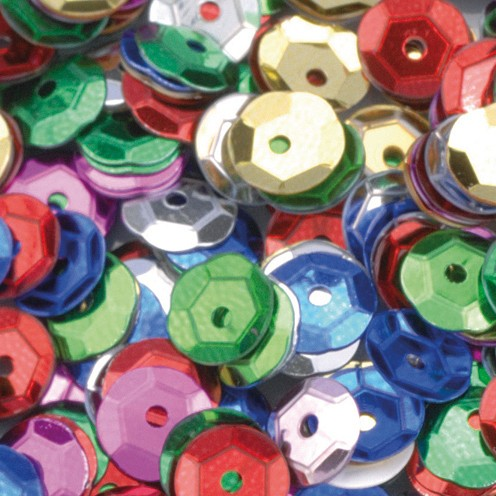 Pailletten, rund, gewölbt ø 6 mm 5 g / ~ 500 Stk. farbig sortiert