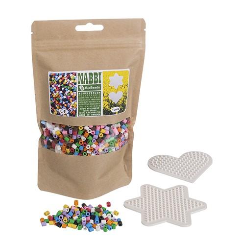 Nabbi® Bio Bügelperlen 100% kompostierbar ~Ø 5 x H 5 mm 2.500 Stk. / 2 Legeplatten 10 Farben Mix