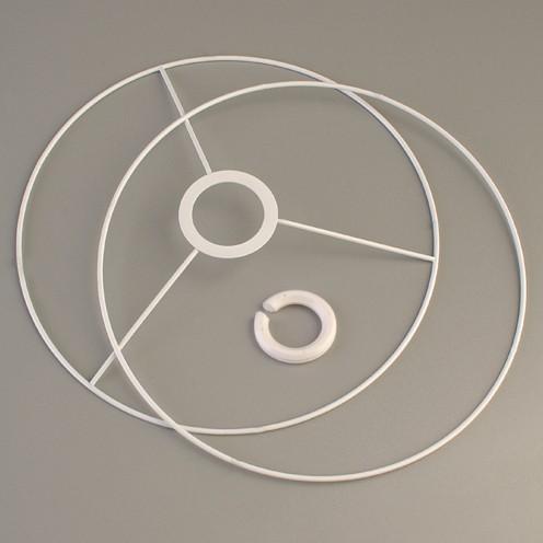 Lampenschirm-Ring Set Rund - für E14 + E27 ø 15 cm 2-teilig weiß