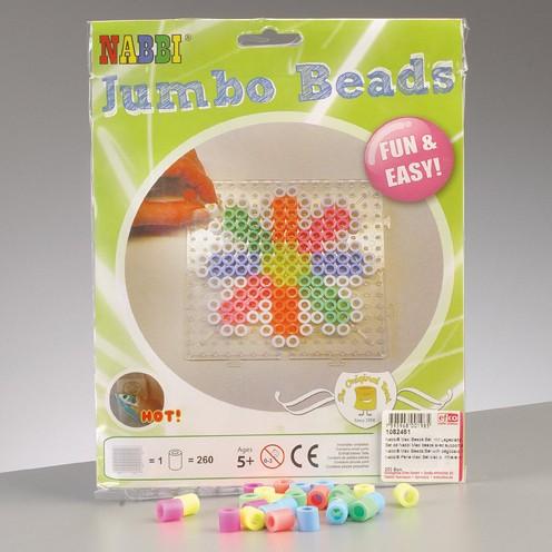 Nabbi®Jumbo Beads -Bügelperlen mit Legeplatte ~Ø 10 x H 10 mm 260 Stk. Pastell Mix