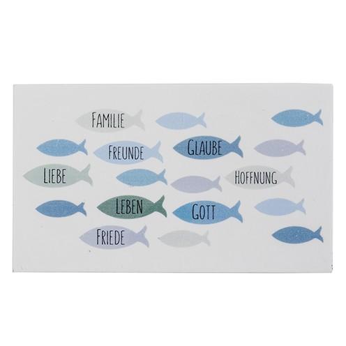 Wachsdekor Fische / Familie,Freunde 80 x 60 mm 1 Stk. blau