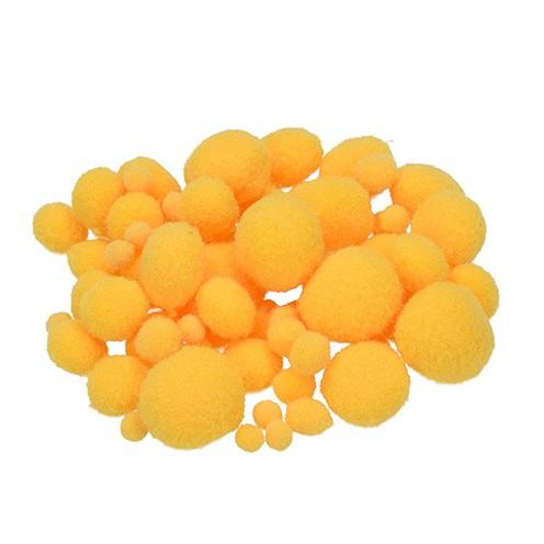 Pompons für Dekorationen 7, 10, 15, 20, 25 mm 75 Stk. gelb