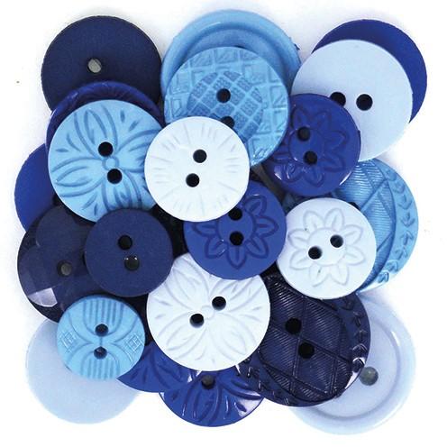 Knopf Blue Ø 10 - 21 mm 18 Stk. blau Mix