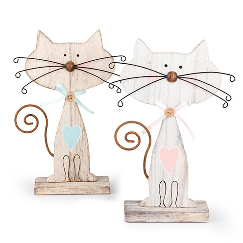 Katze Holz mit Draht 12 x 17 cm bunt sortiert