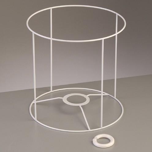 Lampenschirm-Gestell Rund - für E14 + E27 20 cm / ø 20 cm weiß