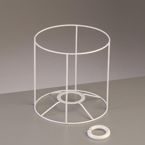 Lampenschirm-Gestell Rund - für E14 + E27 15 cm / ø 15 cm weiß