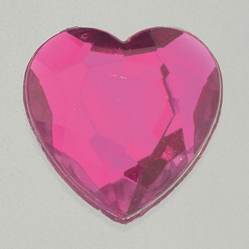 Schmucksteine Acryl facettiert Set Herz 8 / 12 / 18 mm 30 / 10 / 10 Stk. pink