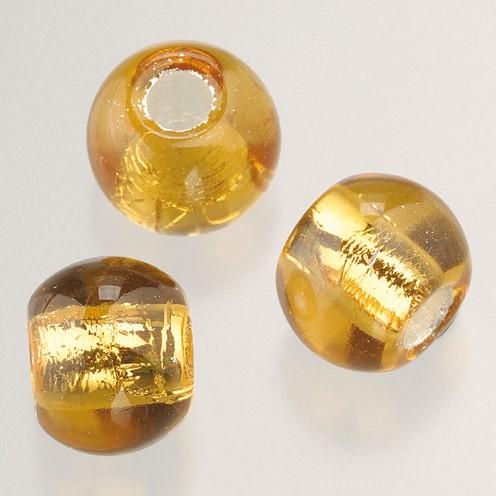 Glasperle Großloch 12 mm / 4 mm 5 Stk. topaz silber