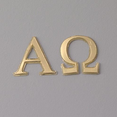 Wachsdekor Alpha + Omega 22 mm 2 - teilig gold glänzend