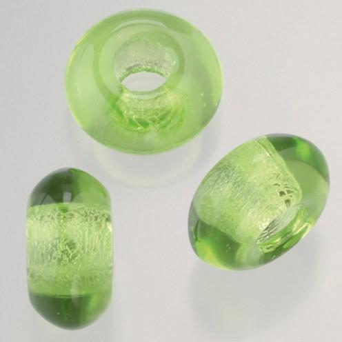 Glasperle Ring Großloch 11 x 17 mm / 6 mm 3 Stk. hellgrün
