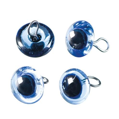Tieraugen mit Öse, Glas ø 8 mm 4 Stk. blau
