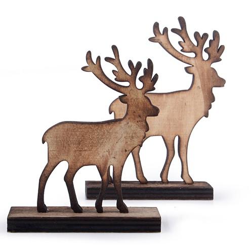 Hirsch Holz sortiert 11 x 9 cm / 13 x 9,5 cm 10 Stk. natur