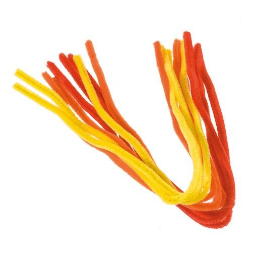 Pfeifenputzer ø 8 mm / 50 cm 9 Stk. gelb, orange, rot