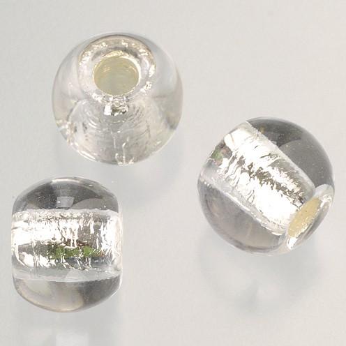 Glasperle Großloch 12 mm / 4 mm 5 Stk. kristall silber