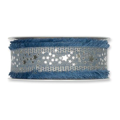 Dekoband Leinen Sterne 35 mm 15 m blau / silber