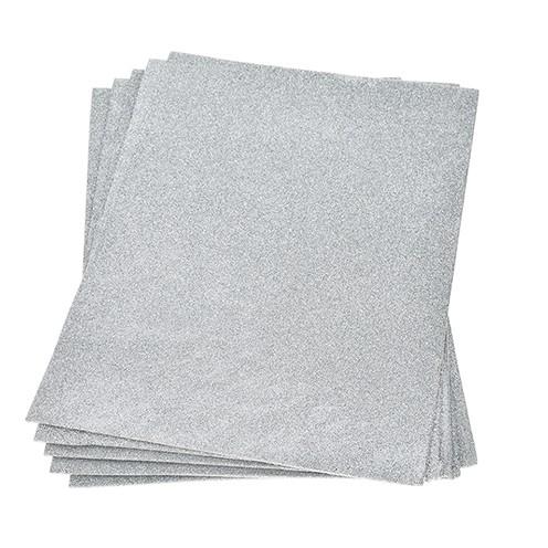 Moosgummiplatte Glitter 200 x 300 x 2 mm silber