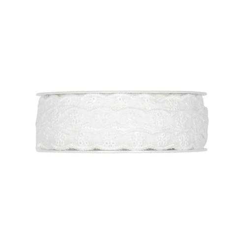 Dekoband BW Lochstickerei waschbar 30° 10 mm weiß