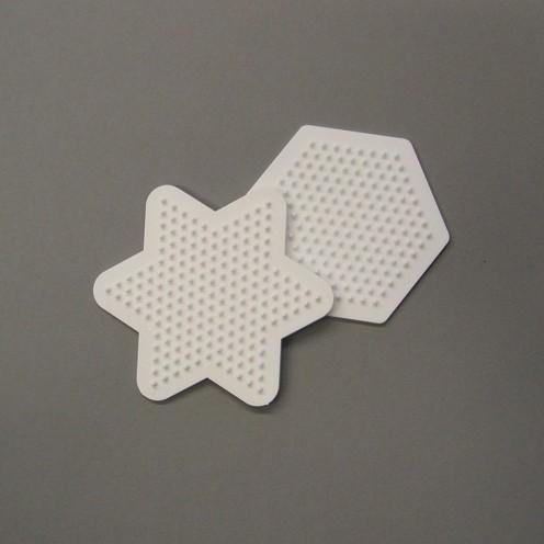 Nabbi® - Legeplatte Mix Hexagon / Stern 9 cm 2 Stk. weiß