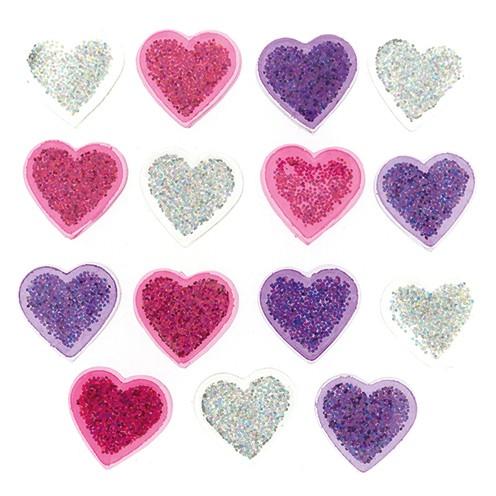 Knopf Glitter Hearts Ø 15 mm 15 Stk. bunt