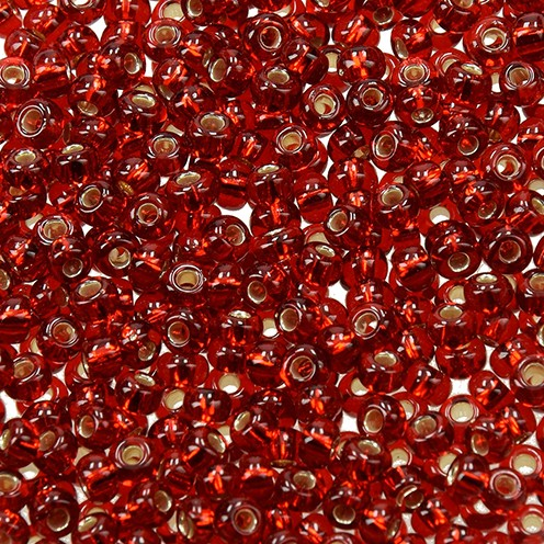 Indianerperlen Silbereinzug ø 3,5 mm 17 g rot