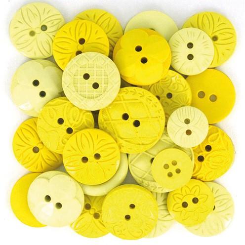 Knopf Yellow Ø 10 - 21 mm 18 Stk. gelb - mix
