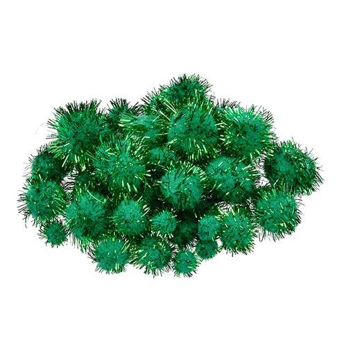 Pompons für Dekorationen 10, 15, 20, 25 mm 40 Stk. grün metallic