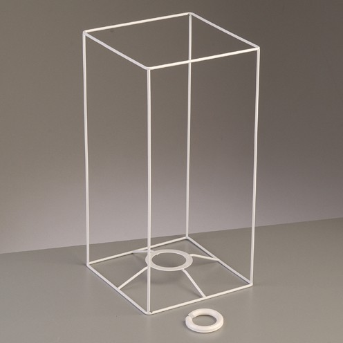 Lampenschirm-Gestell Quadrat - für E14 + E27 30 cm / 15x15 cm weiß