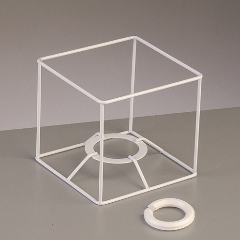 Lampenschirm-Gestell Quadrat - für E14 + E27 10 cm / 10x10 cm weiß
