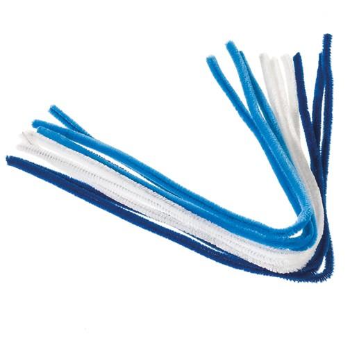 Pfeifenputzer ø 8 mm / 50 cm 9 Stk. weiß / hellblau / blau