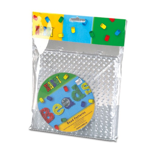 Nabbi® Jumbo Legeplatten Set inklusive Vorlagen CD 15 x 15 cm 2 Legeplatten transparent