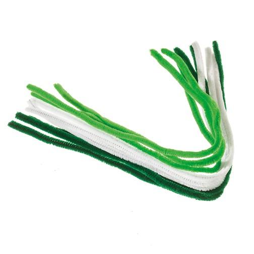 Pfeifenputzer ø 8 mm / 50 cm 9 Stk. weiß, hellgrün, grün
