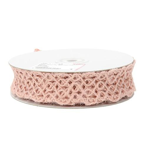 Drahtband Jute 30 mm 10 m rosa
