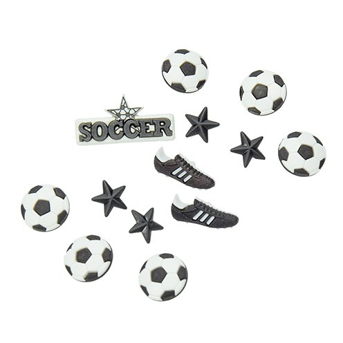 Knopf Soccer ~ 14 x 14 - 34 x 17 mm 13 Stk. schwarz / weiß