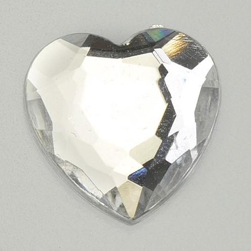 Schmucksteine Acryl facettiert Set Herz 8 / 12 / 18 mm 30 / 10 / 10 Stk. kristall