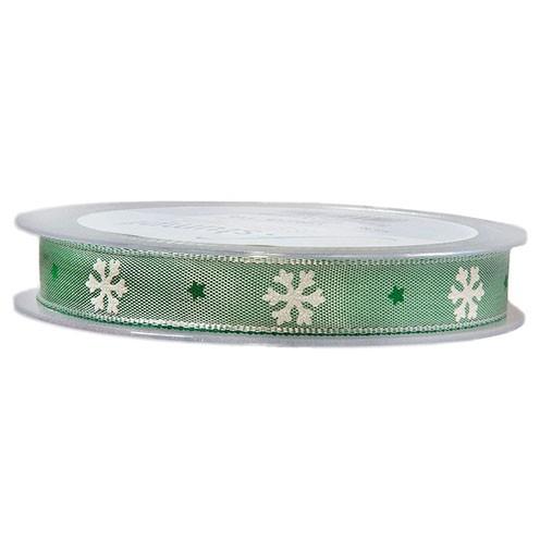 Drahtband Eiskristall 15 mm 20 m grün