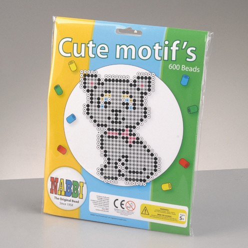 Nabbi® - Bügelperlen Motiv Set Katze mit Zubehör ~Ø 5 x H 5 mm 600 Stk.
