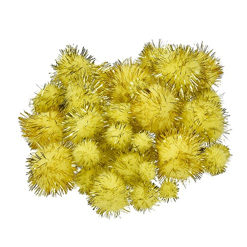 Pompons für Dekorationen 10, 15, 20, 25 mm 40 Stk. gelb gold metallic