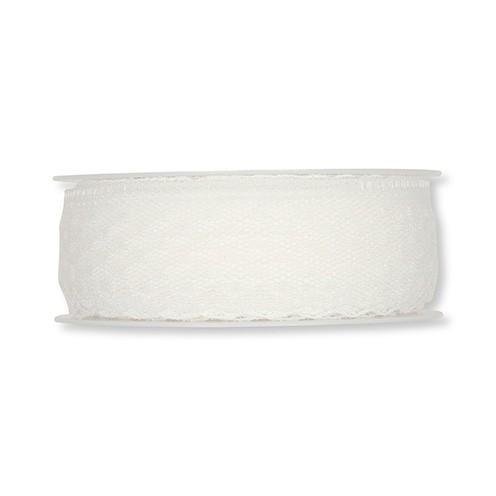 Dekoband Spitze waschbar 30° 30 mm 15 m weiß