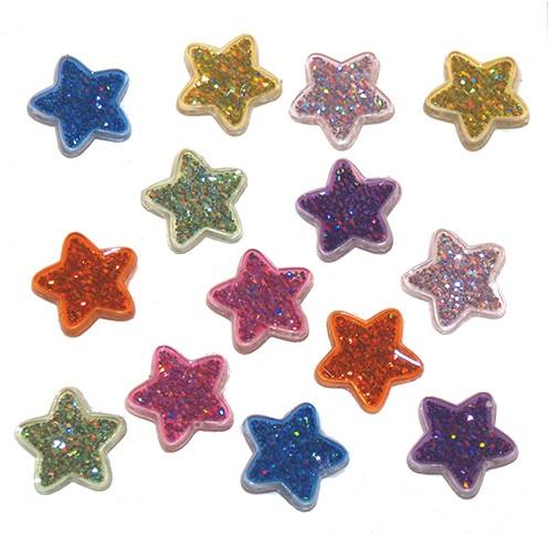 Knopf Glitter stars Ø 15 mm 14 Stk. bunt